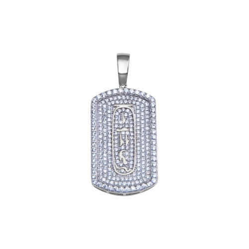 Wholesale Sterling Silver 925 Rhodium Plated Clear CZ Dogtag Pendant - SLP00223RH