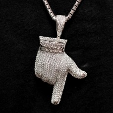 Wholesale Sterling Silver 925 Rhodium Plated CZ Pointed Finger Hip Hop Pendant - SLP00002