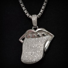 Wholesale Sterling Silver 925 Rhodium Plated Mouth and Tongue Hip Hop Pendant - SLP00017