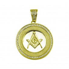 Wholesale Sterling Silver 925 Gold Plated Masonic Sign Medallion Hip Hop Pendant - SLP00019GP