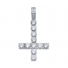 Wholesale Sterling Silver 925 Rhodium Plated CZ Upside Down Cross Hip Hop Pendant - SLP00102