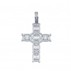 Wholesale Sterling Silver 925 Rhodium Plated CZ Cross Hip Hop Pendant - SLP00156