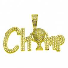 Wholesale Sterling Silver 925 Gold Plated CZ Champ Hip Hop Pendant - SLP00166GP