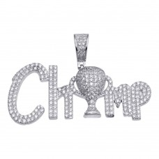 Wholesale Sterling Silver 925 Rhodium Plated CZ Champ Hip Hop Pendant - SLP00166RH
