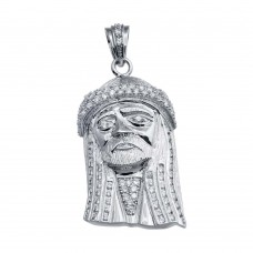 Wholesale Sterling Silver 925 Rhodium Plated CZ Jesus Piece Hip Hop Pendant - SLP00169