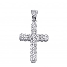 Wholesale Sterling Silver 925 Rhodium Plated CZ Cross Hip Hop Pendant - SLP00177