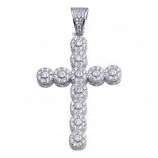 Wholesale Sterling Silver 925 Rhodium Plated CZ Cross Hip Hop Pendant - SLP00179