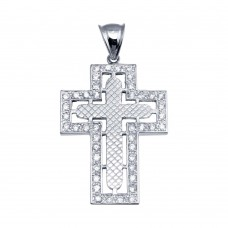 Wholesale Sterling Silver 925 Rhodium Plated CZ Cross Hip Hop Pendant - SLP00188