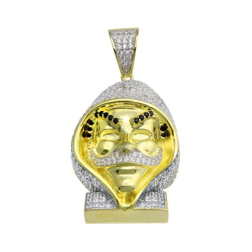 Wholesale Sterling Silver 925 Gold Plated CZ Fawkes Hip Hop Pendant - SLP00212