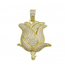 Wholesale Sterling Silver 925 Gold Plated CZ Flower Hip Hop Pendant - SLP00221GP