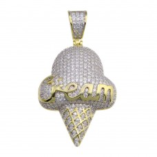 Wholesale Sterling Silver 925 Gold Plated CZ Ice Cream Hip Hop Pendant - SLP00213