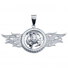 Wholesale Sterling Silver 925 Gold Plated CZ Spinner Hip Hop Pendant - SLP00217