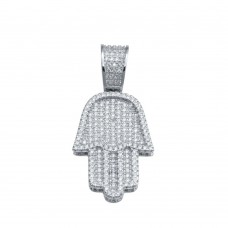Wholesale Sterling Silver 925 Rhodium Plated CZ Hamsa Hand Hip Hop Pendant - SLP00233