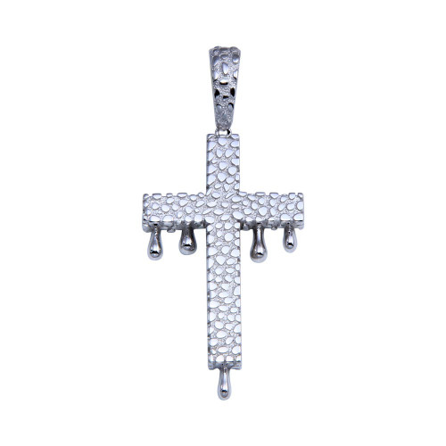 Wholesale Sterling Silver 925 Rhodium Plated CZ Dripping Cross Hip Hop Pendant - SLP00258