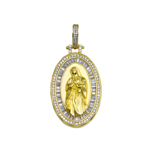 Wholesale Sterling Silver 925 Gold Plated CZ Mary Hip Hop Pendant - SLP00280GP