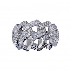 Wholesale Sterling Silver 925 Rhodium Plated CZ Curb Eternity Band Ring  - SLR00001