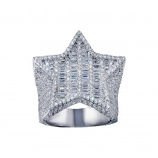 Wholesale Sterling Silver 925 Rhodium Plated CZ Encrusted Star Ring  - SLR00002
