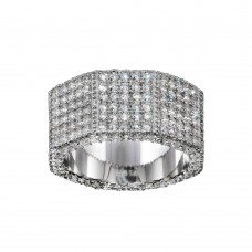 Wholesale Sterling Silver 925 Rhodium Plated CZ Encrusted Octagon Ring  - SLR00003