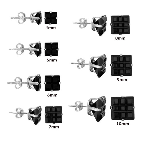 Wholesale Sterling Silver 925 Black Square CZ Invisible Cut Stud Earring - STUD SQ BL IN