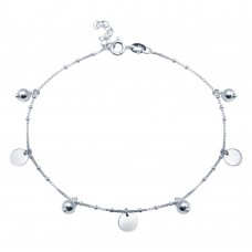 Wholesale Sterling Silver Rhodium Plated Round and Flat Circle Charm Anklet - SOA00016