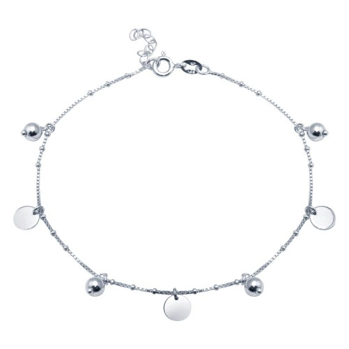 Wholesale Sterling Silver 925 Rhodium Plated Round and Flat Circle Charm Anklet - SOA00016