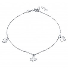 Wholesale Sterling Silver Rhodium Plated Diamond, Clover, and Spade Charm Anklet - SOA00017