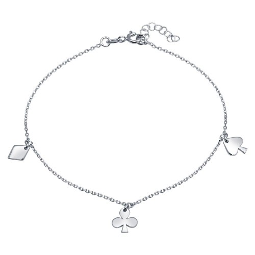 Wholesale Sterling Silver 925 Rhodium Plated Diamond, Clover, and Spade Charm Anklet - SOA00017