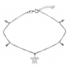 Wholesale Sterling Silver 925 Rhodium Plated Turtle Charm Anklet - SOA00018