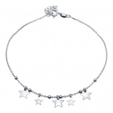 Wholesale Sterling Silver 925 Rhodium Plated Star Charms Anklet - SOA00019