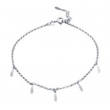 Wholesale Sterling Silver 925 Rhodium Plated Dangling Bar Charm Anklet - SOA00023