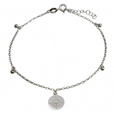 Wholesale Sterling Silver 925 Rhodium Plated Compass Disc with Dangling Beads Anklet - SOA00024