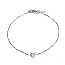 Wholesale Sterling Silver 925 Rhodium Plated Folded Heart Beaded Box Chain Anklet - SOA00025