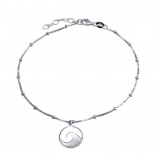 Wholesale Sterling Silver 925 Rhodium Plated Disc Wave Design Beaded Box Chain Anklet - SOA00027