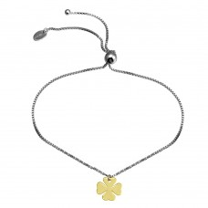 Wholesale Sterling Silver 925 Rhodium Plated Lariat Bracelet with Gold Plated Clover Charm - SOB00003