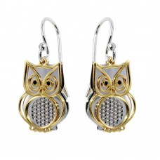 Sterling Silver Two-Toned Flat Owl Earrings - SOE00001