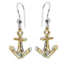 Wholesale Sterling Silver 925 Two-Toned Flat Anchor Earrings - SOE00002