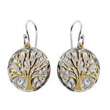 Sterling Silver Two-Toned Flat Tree Earrings - SOE00003