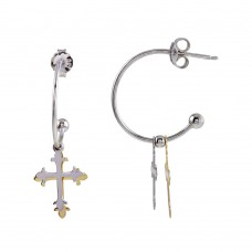 Wholesale Sterling Silver 925 Two-Toned Semi-Hoop Cross Earrings - SOE00004
