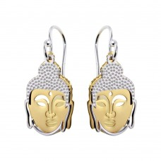 Sterling Silver Two-Toned Flat Buddha Earrings - SOE00005