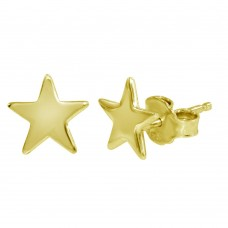 Wholesale Sterling Silver 925 Gold Plated Flat Star Earrings - SOE00011