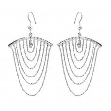 Wholesale Sterling Silver 925 Rhodium Plated Dangling Chain Earrings - SOE00019