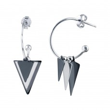 Wholesale Sterling Silver 925 Rhodium Plated Dangling  Triangle Black and Silver Charm Earrings - SOE00020