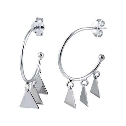 Wholesale Sterling Silver 925 Rhodium Plated Dangling Triangle Silver Charm Earrings - SOE00021