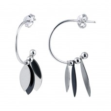 Wholesale Sterling Silver 925 Rhodium Plated Dangling Leaf Shape Black and Silver Charm Earrings - SOE00023