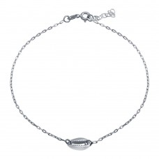 Wholesale Sterling Silver 925 Rhodium Plated Clam Mouth Chain Anklet - SOA00028