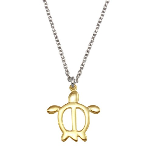 Wholesale Sterling Silver 925 Two Toned Turtle Pendant Necklace - SOP00148