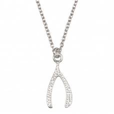 Wholesale Sterling Silver 925 Rhodium Plated Wishbone Pendant Necklace - SOP00149