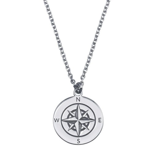 Wholesale Sterling Silver 925 Rhodium Plated Compass Engraved Disc Pendant Necklace - SOP00151