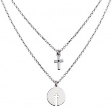 Wholesale Sterling Silver 925 Rhodium Plated Multi Chain Cross and Cross Cutout Pendant Necklace - SOP00153