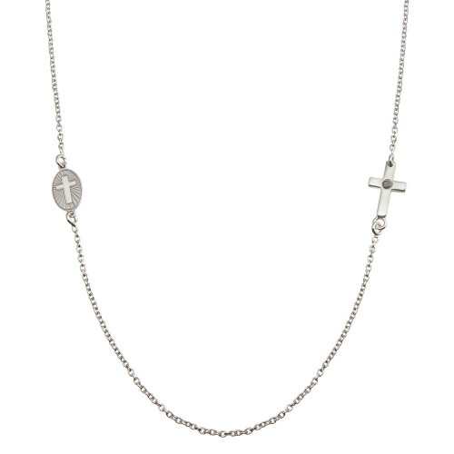 Wholesale Sterling Silver 925 Rhodium Plated Cross and Illuminated Cross Cutout Necklace - SOP00154